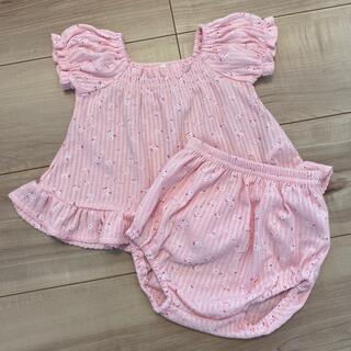 ニシマツヤ(西松屋)の西松屋 半袖トップス ブルマ セットアップ 小花柄ピンク 80(Tシャツ)