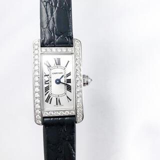 カルティエ(Cartier)の【保証書付】カルティエ タンクアメリカン ミニ シルバー ダイヤ 腕時計(腕時計)