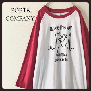【USA古着】PORT&COMPANYラグランスリーブ 七分袖カットソー  L(Tシャツ/カットソー(七分/長袖))