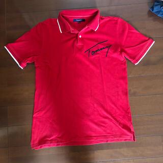 トミー(TOMMY)の古着TOMMY 大きなロゴ刺繍がクールなポロシャツ◇Lサイズ◇赤色◇M-0192(ポロシャツ)