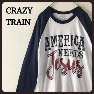 【USA古着】CRAZYTRAIN ラグランスリーブ 七分袖 カットソー  M(Tシャツ/カットソー(七分/長袖))