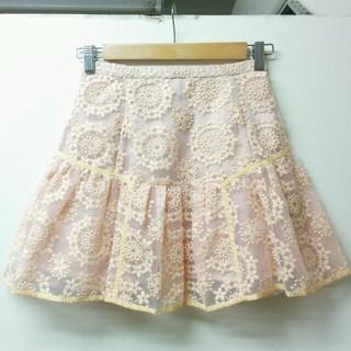 マーキュリーデュオ(MERCURYDUO)の新品マーキュリーデュオ✾刺繍オーガンジースカート スナイデル/リリーブラウン(ミニスカート)