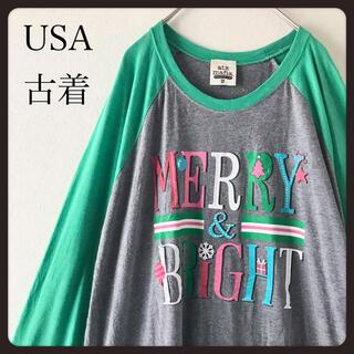 【USA古着】クリスマス ラグランスリーブ ラージサイズ七分袖カットソー  XL(Tシャツ/カットソー(七分/長袖))