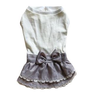 サマンサモスモス(SM2)のチェック柄 ティアードワンピース ブラウン 犬服 ドッグウェア(ペット服/アクセサリー)