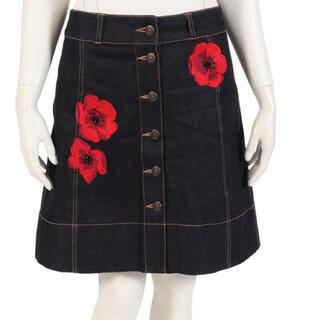 ケイトスペードニューヨーク(kate spade new york)の花刺繍デニムスカート(ミニスカート)