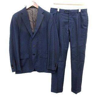 エディフィス(EDIFICE)のエディフィス スーツ セット ストライプ ジャケット パンツ 48 ネイビー(スーツジャケット)