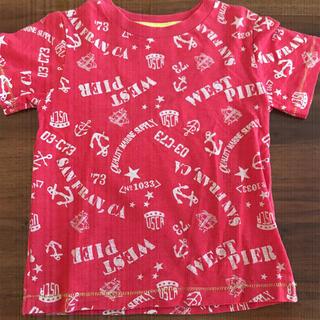 ニシマツヤ(西松屋)の赤色のマリン柄Tシャツ/110㎝(Tシャツ/カットソー)