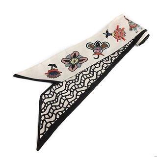 ヴァレンティノガラヴァーニ(valentino garavani)のヴァレンティノ ガラヴァーニ スカーフ リボンスカーフ 花柄 絹 黒 ベージュ(バンダナ/スカーフ)