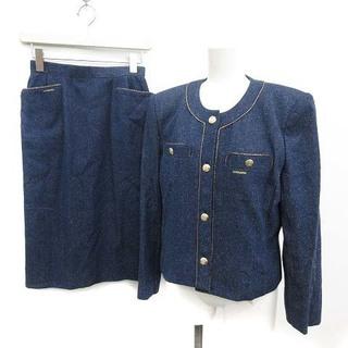 レオナール(LEONARD)のレオナール セットアップスーツ ビンテージ ジャケット スカート 9 M 紺(スーツ)