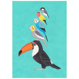 【新作】アート絵画「小鳥ブレーメン ティファニーブルー」A5(アート/写真)