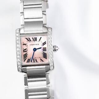 カルティエ(Cartier)の【保証書付】カルティエ TANKフランセーズ ピンク ダイヤ レディース 時計(腕時計)