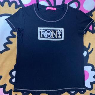 ロニィ(RONI)の㉖パールロゴT黒♡145(Tシャツ/カットソー)
