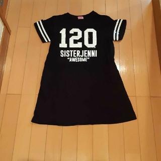 ジェニィ(JENNI)のジェニィJenni黒×ナンバリング半袖ロングTシャツワンピース150サイズ(ワンピース)