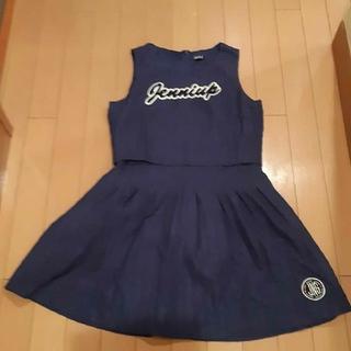ジェニィ(JENNI)のジェニィJenniブルー青袖無しノースリーブオールインワンピース160サイズ(ワンピース)