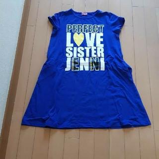 ジェニィ(JENNI)のジェニィJenniロイヤルブルー半袖TシャツAラインワンピース160サイズ(ワンピース)