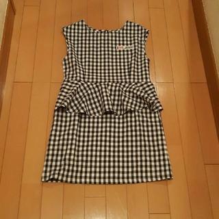 ジェニィ(JENNI)のジェニィJenni黒×白ギンガムチェック袖無しノースリーブワンピース160サイズ(ワンピース)