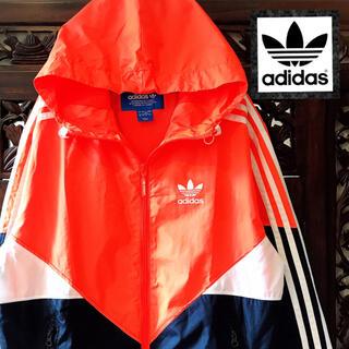 adidas - アディダス 蛍光オレンジ ウィンドブレーカー ジャージ ナイロンパーカー