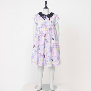 ANNA SUI mini - アナスイミニ 今季物 ネコ襟花柄プリントカットワンピース 新品 110センチ