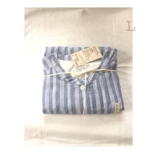 ムジルシリョウヒン(MUJI (無印良品))の無印良品     脇に縫い目のない細番手二重ガーゼ七分袖パジャマL・ストライプ (パジャマ)