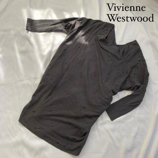 ヴィヴィアンウエストウッド(Vivienne Westwood)の☆ヴィヴィアンウエストウッド トップス 長袖 オーブ柄 Mサイズ グレー(Tシャツ(長袖/七分))