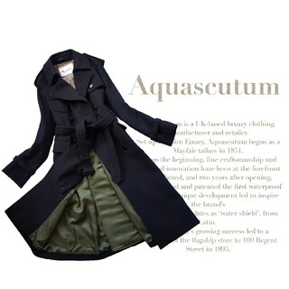 AQUA SCUTUM - 超高級 美品 アクアスキュータム 一級品トレンチコート モダンスタイル チェック
