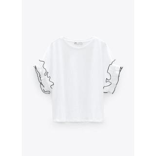 ザラ(ZARA)のZARAフリル付きTシャツ(Tシャツ(半袖/袖なし))