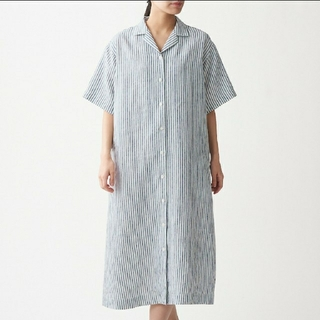 MUJI (無印良品) - フレンチリネン洗いざらし 五分袖開襟ワンピース