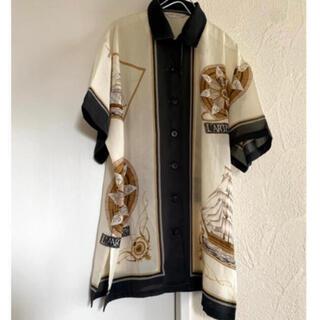 ART VINTAGE - vintageレトロ古着デザイン帆布船メンズロングシャツ