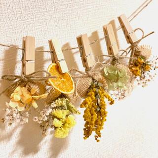 ドライフラワー スワッグ ガーランド ミモザ スターチス ミニバラ 紫陽花(ドライフラワー)