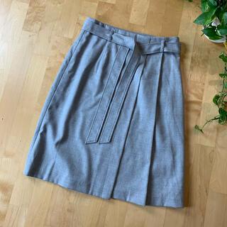 ANAYI - ANAYI アナイ 腰紐付きひざ丈スカート グレー 灰色 38 M ウール混