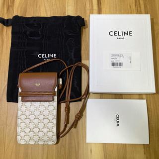 celine - ほぼ新品 セリーヌ モバイルポーチ/トリオンフキャンバス&ラムスキン 約7万円