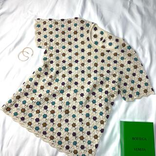 Lochie - 花柄 ニット レーヨン リネン ビンテージ レトロ古着 半袖 透け感