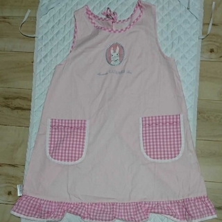 【中古】1度利用可愛い(◍•ᴗ•◍)✧*。ウサギ エプロン ピンク色綿100%(その他)