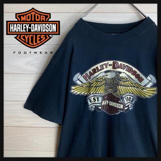 ハーレーダビッドソン(Harley Davidson)の【希少デザイン】ハーレーダビッドソン☆デカロゴ入りtシャツ 人気鷲柄 90s(Tシャツ/カットソー(半袖/袖なし))