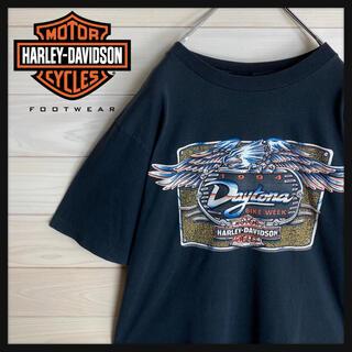 ハーレーダビッドソン(Harley Davidson)の【希少デザイン】ハーレーダビッドソン☆両面ロゴ入りtシャツ 即完売モデル 90s(Tシャツ/カットソー(半袖/袖なし))