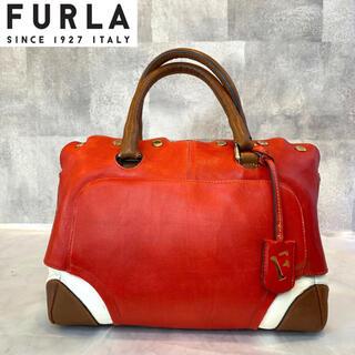 Furla - 【FURLA】希少 フルラ レッド×ブラウン×ホワイト レザー ボストンバッグ