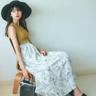 GRL - 手書き風花柄フレアスカート