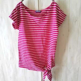 アナップ(ANAP)のr0242【ANAP】裾結びボーダーカットソー半袖 ピンク×白ボーダー柄(カットソー(半袖/袖なし))