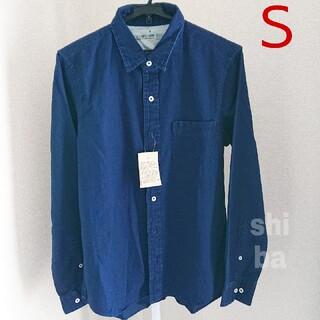 MUJI (無印良品) - 【新品】無印良品 ヘリンボーンシャツ インディゴ オーガニックコットン100%