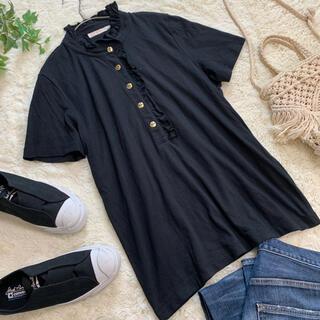 トリーバーチ(Tory Burch)のトリーバーチ 金ボタン ブラウス ブラック 黒 フリル 大きいサイズ XL(ポロシャツ)