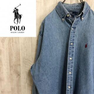 POLO RALPH LAUREN - ポロバイラルフローレン 90s ボタンダウン デニムシャツ BLAKE 刺繍ロゴ