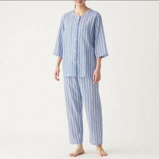ムジルシリョウヒン(MUJI (無印良品))の脇に縫い目のない 細番手二重ガーゼ 七分袖パジャマ レディースL(パジャマ)