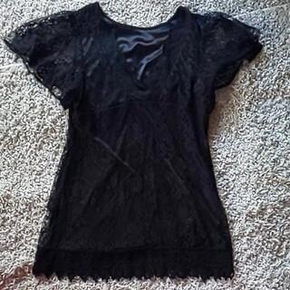 デュラス(DURAS)のDURAS 黒レーストップス(Tシャツ(半袖/袖なし))