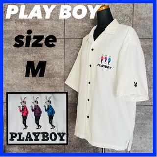 プレイボーイ(PLAYBOY)のPLAYBOY プレイボーイ 半袖 開襟 シャツ メンズ サイズM ホワイト(シャツ)