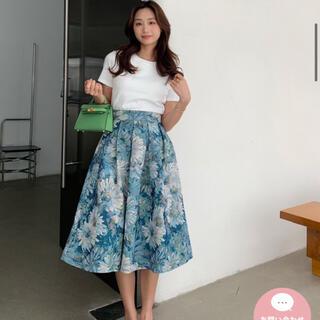 バースデーバッシュ BLUE FLOWER ジャガード スカート(ひざ丈スカート)
