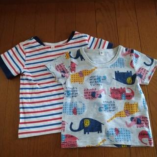 ニシマツヤ(西松屋)の西松屋 サイズ80 Tシャツ 半袖 シャツ ゾウ マリン ボーダー 2枚 セット(Tシャツ)