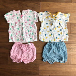 韓国ベビー服 夏物 80cm 男女双子 tシャツショートパンツ2着セット
