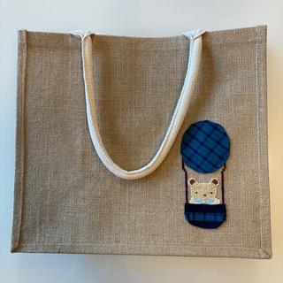 ムジルシリョウヒン(MUJI (無印良品))のhandmadeファミリア風刺繍 気球 無印良品エコバッグジュートバッグ(トートバッグ)