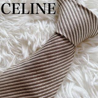 セリーヌ(celine)の極美品 セリーヌ ネクタイ ストライプ柄 ハイブランド 光沢 豪華 イタリア製(ネクタイ)