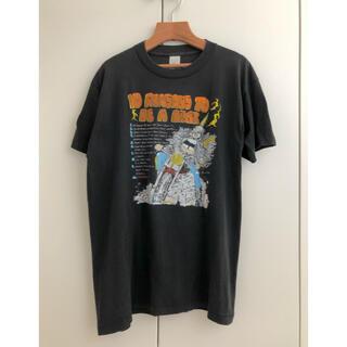 ハーレーダビッドソン(Harley Davidson)の80s 90s ビンテージ シングルステッチ バイクTシャツ 墨黒 L(Tシャツ/カットソー(半袖/袖なし))